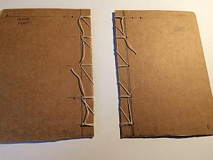 prepared boards with holes and stitching