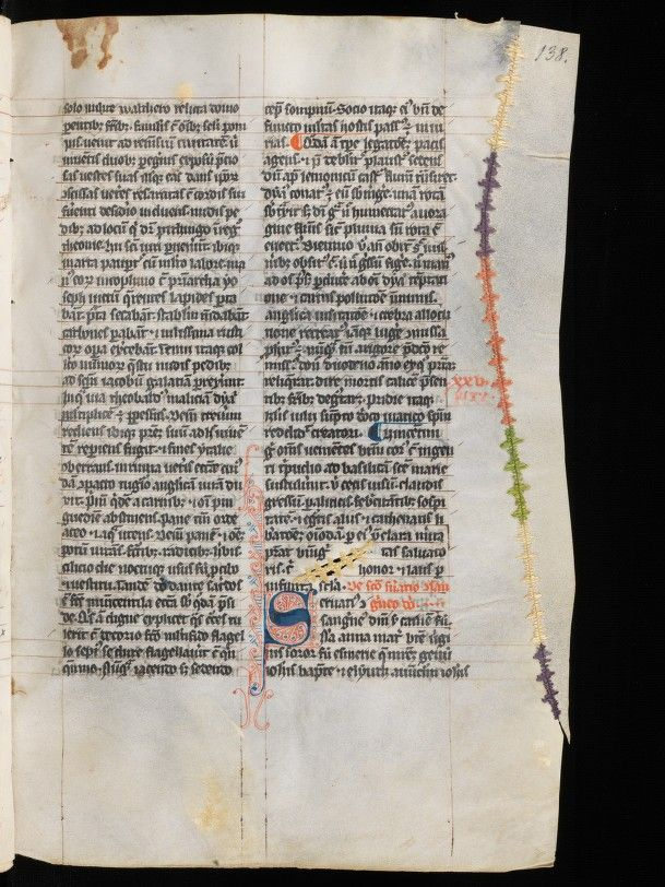stitching on parchment