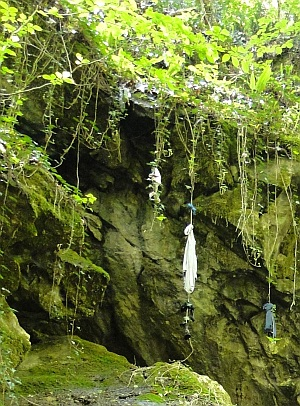clothes hanging by the cavern