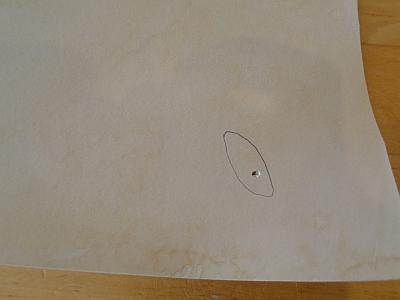 scissor hole with pencil line around