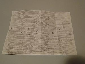 hair side of sheet with order and direction of pages for imposing text